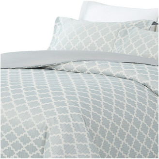 Natural Comfort Luxurious Cotton Duvet Cover Mini Set, Lock/Light Blue