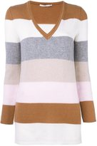 Agnona cashmere striped v-neck jumper