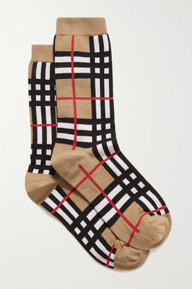 Burberry Checked Cotton-blend Socks - Beige