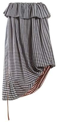 Loewe Asymmetric Gingham Cotton Twill Midi Skirt - Womens - Blue Multi