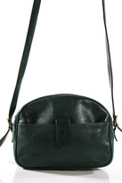Il Bisonte Dark Green Leather Gold Tone Accented Crossbody Bag