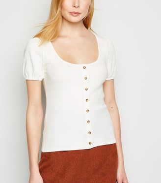 New Look Puff Sleeve Button Ribbed T-Shirt