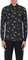 Undercover Men's Astronaut- & Planet-Printed Cotton Shirt-BLACK