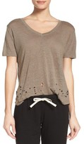 Monrow Women's Destructed Linen Lounge Tee
