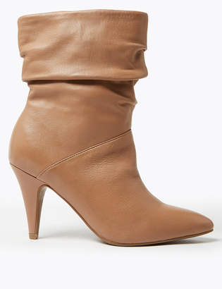 Marks and Spencer Leather Ruched Pointed Ankle Boots