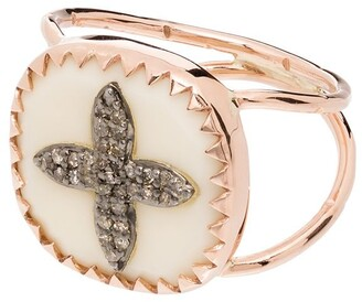 Pascale Monvoisin 9K rose gold Bowie No 2 diamond cross ring
