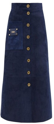 Fendi A-line Patch-pocket Suede Midi Skirt - Blue