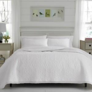 Laura Ashley King Heirloom Crochet White Quilt Set Bedding