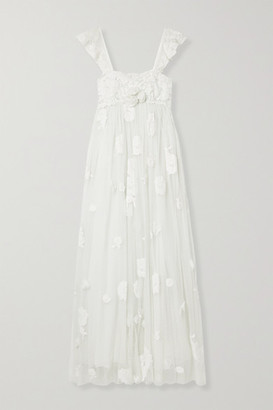 LoveShackFancy Irene Appliqued Lace-trimmed Swiss-dot Tulle Gown - White