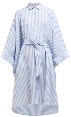 Palmer Harding Palmer//harding - Serra Striped Wide-sleeve Linen Shirtdress - Womens - Blue Stripe
