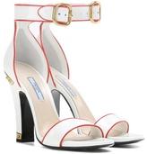 Prada Embellished Patent Leather Sandals