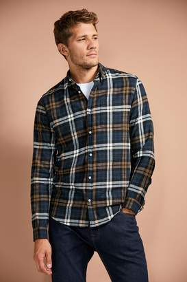 Next Mens Navy/Ochre Regular Fit Brushed Flannel Check Long Sleeve Shirt - Blue