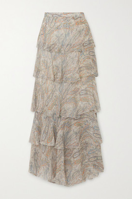 Etro Tiered Paisley-print Silk-crepon Maxi Skirt - Beige