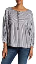 Max Studio Babydoll Striped Peasant Blouse