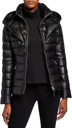 Mackage Andrea Hooded Bib Leather Coat