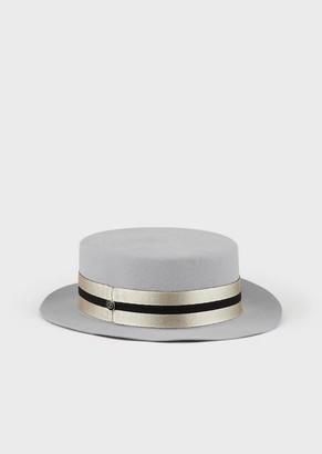 Giorgio Armani Fedora Hat With Velvet Ribbon