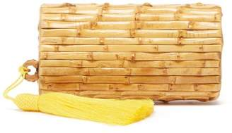 Glorinha Paranagua Tania Tassel-embellished Bamboo Clutch - Womens - Yellow Multi