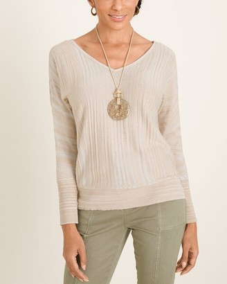 Chico's Spacedye Double V-Neck Pullover Sweater