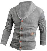 SODIAL(R) Sweater Lapel Mens Cardigan Sweater Fashion Knitted Sweater Coat of Cultivate One's Morality L