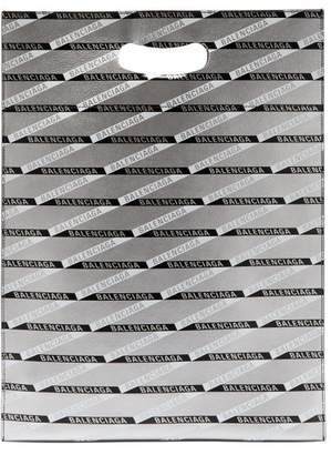 Balenciaga Monogram Logo Print Leather Tote Bag - Womens - Silver