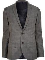 River Island MensGrey check wool-blend slim jacket