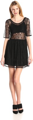 MinkPink Women's Meet Me In St Louis Lace Short Sleeve Dress