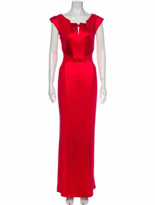 J. Mendel Silk Long Dress Red