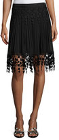 Elie Tahari Brielle Pleated Chiffon & Floral-Lace Skirt, Black