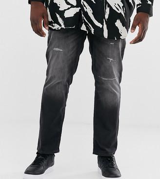 Jack and Jones Intelligence slim fit abrasion jeans in dark gray wash