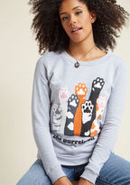 F8022E To survive present-day politics, it certainly helps to be strong and have a sense of humor. This grey pullover both amuses and empowers with a ModCloth-exclusive graphic from Kimball Prints of kitty paws raised in unison, establishing your quirky commitme