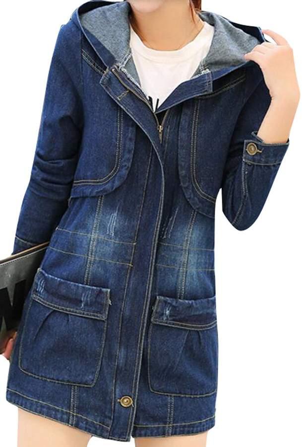 ba5f67c68 LD-women clothes LD Womens Denim Trench Jacket Hooded Full Zip  Multi-Pockets Jean Coat S