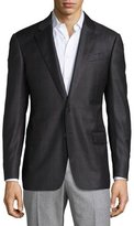 Armani Collezioni G-Line Windowpane Wool Two-Button Sport Coat, Charcoal