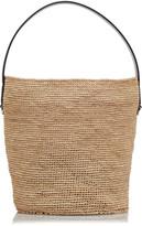 Jil Sander Leather-Trimmed Medium Straw Bucket Bag