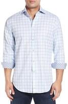 Thomas Dean Men's Classic Fit Windowpane Jacquard Sport Shirt