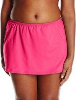 24th & Ocean Women's Plus-Size Solid Skirted Bikini Bottom