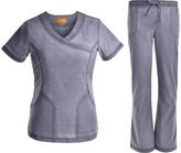 Jeanish Women's Scrubs Bottoms Pewter - Pewter Stretchy Surplice Scrub Top & Flare Scrub Pants - Women