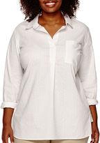 Liz Claiborne 3/4-Sleeve Extended-Shoulder Popover Shirt - Plus