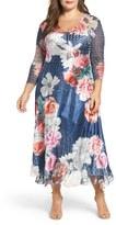 Komarov Floral Charmeuse & Chiffon Dress (Plus Size)