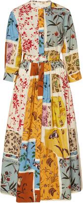 Oscar de la Renta Belted Floral Cotton Poplin Shirt Dress