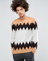 Asos Mohair Mix Sweater with Color Block Design