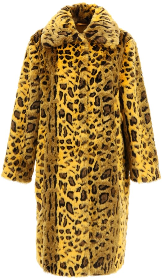 Thumbnail for your product : Stand MAXINE LEOPARD ECO-FUR COAT 38 Yellow, Black Faux fur