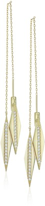Noir Double Header Gold Drop Earrings