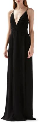 ML Monique Lhuillier Deep V-Neck Sleeveless Pleated Maxi Dress
