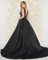 Mac Duggal Couture - 66217D V-neck Metallic Ballgown