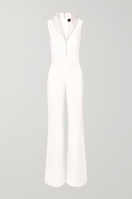 Brandon Maxwell Faille-trimmed Silk Crepe De Chine Jumpsuit - Ivory