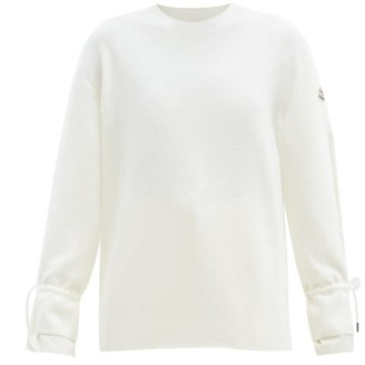 Moncler Logo-patch Tie-sleeve Wool Sweater - White