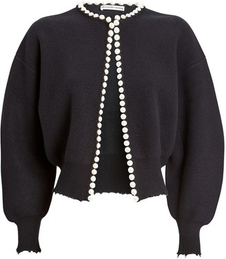 Alexander Wang Pearl-Trimmed Cropped Cardigan