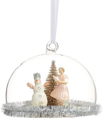 story. Glucksteinhome Storybook Girl With Snowman In Dome Ornament