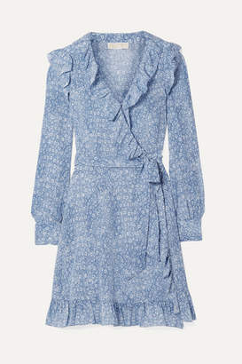 MICHAEL Michael Kors Ruffled Printed Silk Crepe De Chine Mini Wrap Dress - Blue