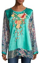 Johnny Was Blossom Embroidered Floral-Print Blouse, Multi, Plus Size